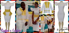 White & yellow modern traditional wedding dress with matching shirt. The traditional wedding dress is tight fitting with a detachable traditional print belt. With stiff cap sleeves.