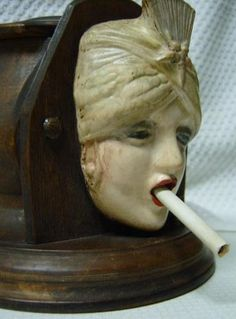 Antique Wood Cigarette Dispenser Lady Gypsy Smoker Boudoir Doll Head Art Deco