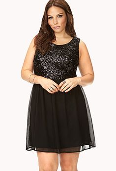 Sequined Bodice Dress | FOREVER21 PLUS - 2025101912 - Vegas