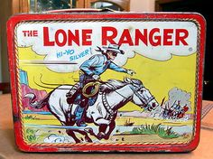 Vintage The LONE RANGER Metal Lunchbox Tonto Silver