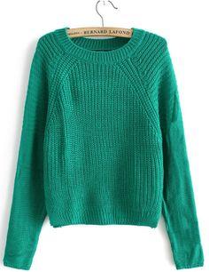 Green Raglan Sleeve Round Neck Crop Sweater US$32.62