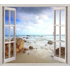 Γγρ│ déco mer | ... fenêtre Trompe l'oeil > Sticker fenêtre déco Mer plage réf 5425
