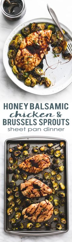 Easy healthy Sheet Pan Honey Balsamic Chicken & Brussels Sprouts dinner | lecremedelacrumb.com