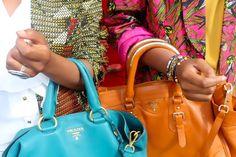 Fluor shopping bags.