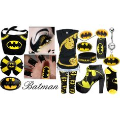 """""""batman overload!"""" by blubuddi974 on Polyvore. Scene outfit black and yellow. Who doesn't love Batman?"""