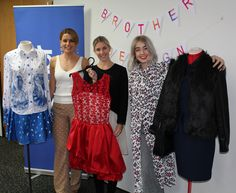 Fashion judges - Emma Crossett, Celine Chapman & Kayla Jurlina with 3 of the finalist fashion garments for 2015 #BrotherDesignStars #fashion #finalist
