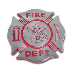 Firefighter chrome auto emblem. Size - 3 x 3 x .125 inch - OEM process (ABS plastic core with a true chrome-plated metal finish; shiny chrome finish guaranteed to last lifetime of vehicle; NOT a cheap plastic hotstamp imitation).