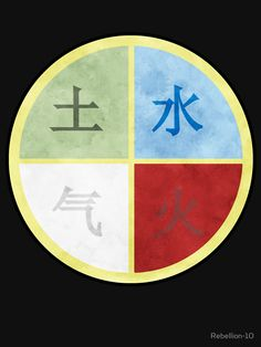 The four elements: Earth, Water, Air and Fire in Chinese In clockwise and in their colour. These old elements were the key ones during the prime days of alchemy and the main plot setting from the cartoon: avatar; the legend of aang and korra. If you're a fan of these cartoons and/or you have a love of the spiritual concept then this is the right design for you.