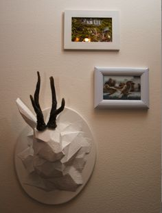 jackalope (abstract taxidermy in geometric shapes) - includes link to the geometric paper bunny template