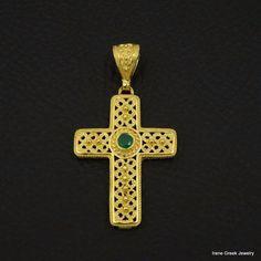 NATURAL GREEN ONYX BYZANTINE 925 STERLING SILVER 22K GOLD PLATED GREEK CROSS #IreneGreekJewelry #Pendant