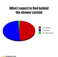 What I expect to find behind the shower curtain.