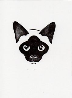 Black and White Cat linocut woodblock printmaking by WeThinkSmall
