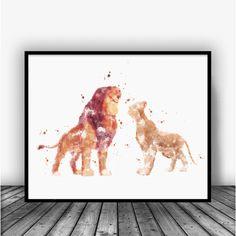 Simba and Nala Lion King Watercolor Art Print Poster. For Home Decoration, Nursery and Kids Room Decor. Disney Art.