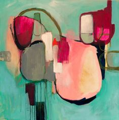 Large abstract painting giclee print, coral pink green abstract print, large abstract art print, abstract canvas art print, abstract artwork - A feast of calming and calm beauty shaped green merged with the elegance of pink … of deep fuschi - Picasso Paintings, Original Paintings, Original Art, Canvas Art, Canvas Prints, Art Prints, Art Occidental, Art Du Monde, Green Wall Art