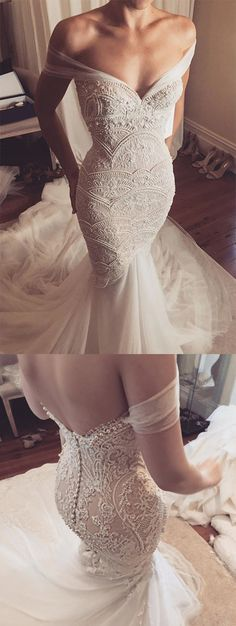 2018 New Arrival Off The Shoulder Wedding Dresses Mermaid Tulle & Lace With Beads #OffTheShoulder #WeddingDresses #Mermaid #Tulle #Lace  #cheapweddingdresses    #2019promdresses