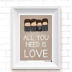 Simpático y exclusivo dibujo de los 4 de Liverpool que nos recuerda una de sus canciones más conocidas y admiradas.
