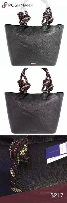 """Rebecca Minkoff Climbing Rope Large Leather NWT Gorgeous and HOTTTTTT!!!! Rebecca Minkoff Climbing Rope Ladies Large Leather Tote Handbag Black /NWT COBBLE BLACK LEATHER!! ROPE COLORS ARE BLACK, RED, WHITE, BLUSH, LEATHER HANDLES TOO! BRAND NEW Condition: New with tags:  UPC :0846632836507      THIS IS AN XL Model:HU17EUPT99 MPN:HU17EUPT99 $325,00   MRSP:  """"This is an authentic Rebecca Minkoff handbag made of high quality leather.""""  Product Dimensions:  12""""(H) X 13""""(L) X 5""""(W)  Cotton…"""