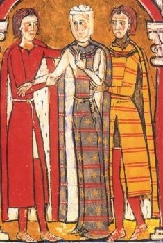 Jessamyn's Closet: Right: Liber Feudorum Ceritaniae, folio 71: Betrothal of the Count of Rousillon with the daughter of the Viscount of Béziers, miniature. Archives of the Crown of Aragon, Barcelona