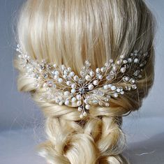 Bespoke bridal hair accessory, very elegant and rich. This wedding headpiece will underline the elegance of your bridal hairstyle. This stylish gold wedding hair piece created with shiny transparent and champagne crystal beads, natural freshwater pearls, sparkly rhinestones and