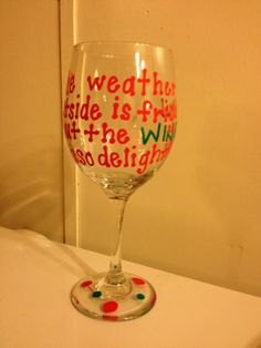 Hand-painted wine glass #wine #christmas