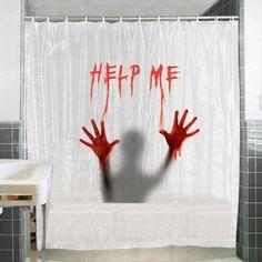 Cortina de Baño original  Help Me,  broma, terror recuerda a Psicosis