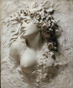 Sarah Bernhardt (1844-1923) Ophelia, white marble 1880