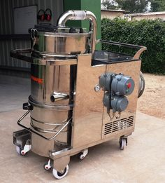 Flame Proof Industrial Vacuum Cleaner for Polyester Manufacturing Plant. Due to the nature of polyester and customer site specific requirements,   Dynavac®provided the Hydra 5 SSFL machine. This industrial heavy duty vacuum cleaners is made with stainless steel and has a 5 HP flame proof motor. The power cables were copper flexible cable with double seal insulation.