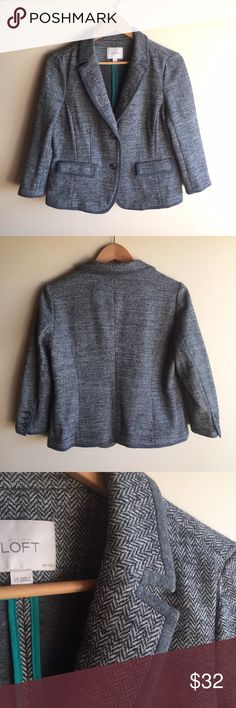 """LOFT gray herringbone jacket Gorgeous blazer by Loft in a herringbone wool blend. Two front pockets, 3/4 sleeves. Size petite large. Measures 19"""" from underarm to underarm and 22.5"""" long. Excellent condition! Cotton/poly/wool, hand wash. LOFT Jackets & Coats Blazers"""