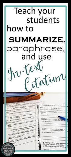 No more plagiarism! Teach students to accurately summarize, paraphrase, and create in-text citations (also called parenthetical citations). Lesson guides students step-by-step. Easy to use, no prep, great for research writing and projects. Current MLA guidelines.