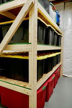 Basement Storage Shelves, Wooden Storage Shelves, Garage Shelving, Garage Storage, Garage Organization, Shelving Units, Workshop Organization, Organization Ideas, Heavy Duty Storage Bins
