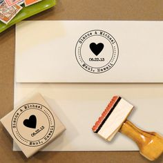 Heart Custom Stamp with date for Save the Dates & Wedding Invitations with a typewriter font on Etsy, £15.46