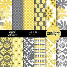 buy2get1 yellow digital paper pack - sunlight  12 scrapbooking paper