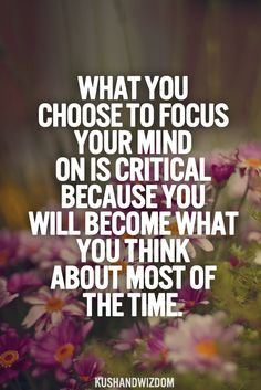 What you choose to focus your mind on is critical...