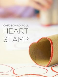Easy and fun Valentine Crafts for Kids: How to make a simple and colorful Cardboard Roll Heart Stamp with Kids Valentine's Day Crafts For Kids, Art Activities For Kids, Diy For Kids, Kid Crafts, Kids Fun, Preschool Ideas, Toddler Activities, Preschool Valentine Crafts, Diy Valentines Cards