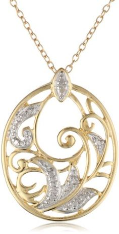 """18k Yellow Gold Plated Sterling Silver Diamond Accent Pendant, 18"""" Amazon Curated Collection,http://www.amazon.com/dp/B000SMMI0A/ref=cm_sw_r_pi_dp_ekS9rb181Q1P4WZ1"""