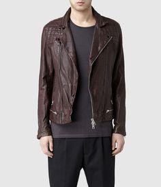 Mens Conroy Leather Biker Jacket (Oxblood)   ALLSAINTS.com