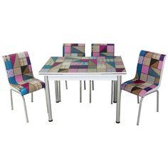 Set masa extensibila Mozaic Violet cu 4 scaune Mozaic, Violet, Dining Table, Modern, Furniture, Home Decor, Trendy Tree, Decoration Home, Room Decor