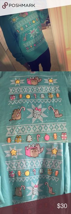 Pusheen Holiday Ugly Christmas Sweater Sweatshirt Pusheen Box official Blue holiday sweatshirt! features pusheen and stormy in holiday theme. brand new with tags Pusheen Tops Sweatshirts & Hoodies