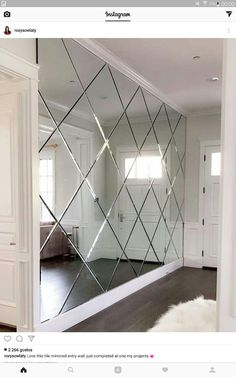 Love this tile mirrored entry wall just finished … – … - Home Decoration Mirror Decor Living Room, Home Living Room, Entryway Decor, Living Room Designs, Home Interior Design, Interior Decorating, Interior Shop, Mirror Tiles, Wall Mirrors