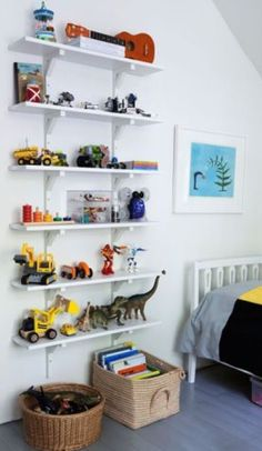 Organize kids Smart Tricks to Organize Kids Toys in a Small Space Kids' bedroom is the messiest realm. we've appeared here with a bunch of magic to conquer space in the kids' room or to organize kids toys. Lego Regal, Lego Shelves, Kids Room Shelves, Shelves For Toys, Wall Shelves, Ikea Shelves, Lego Storage, Box Storage, Hanging Storage