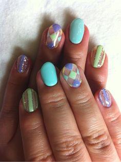 Love these! The clear sections of stripes and argyle are so cute! #nail #nails #nailart #unha #unhas #unhasdecoradas
