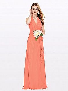 Halter Chiffon Bridesmaid Dress with Pleated Bodice and Side Draping - GBP £75.51