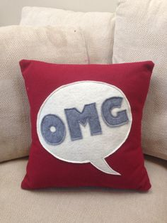 Cute felt pillow for your teen or tween by Out of the Box.  www.outoftheboxshop.com