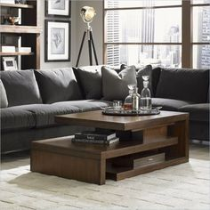 Lexington 11 South Cascade Cocktail Table in Chestnut Brown - contemporary - coffee tables - vancouver - Cymax
