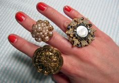 Now, here is a great idea.How to make rings from old clip-on earrings