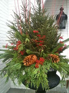 Decorating Front Porch Urns For Christmas Urns Decorated For Christmas  Christmas Urn Images Christmas Urn