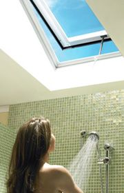 VELUX offers a complete system of residential skylights with complimentary products and accessories for any solution. Skylight Bathroom, Bathroom Windows, Bathroom Renos, Downstairs Bathroom, Bathroom Ideas, Residential Skylights, Window In Shower, Attic Remodel, Small Windows