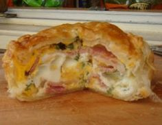 One of New Zealand's famous, iconic and favourite foods - the Bacon and Egg Pie.