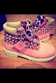 pink studded shoes | ... , pink, cow, girly, studded boots, studded shoes, studs - Wheretoget
