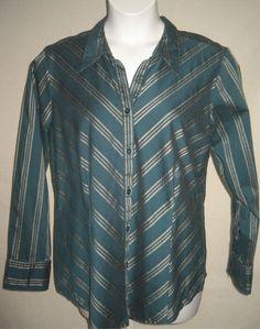 Sz 18 20 1X Lane Bryant Shirt Teal Blue Diagonal Stripe LS Shaped Cotton Blend | eBay